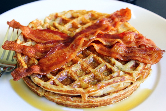 Best-Ever Pecan Waffles with Bacon | Small Kitchen Chronicles