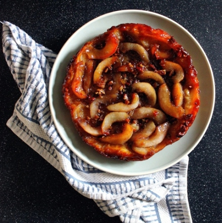 butterscotch giner pear tarte tatin with pecans