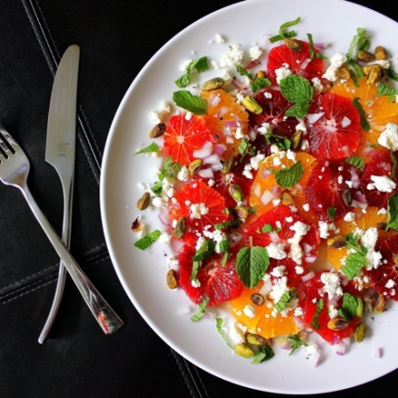 blood orange salad with goat cheese pistachios and mint 4