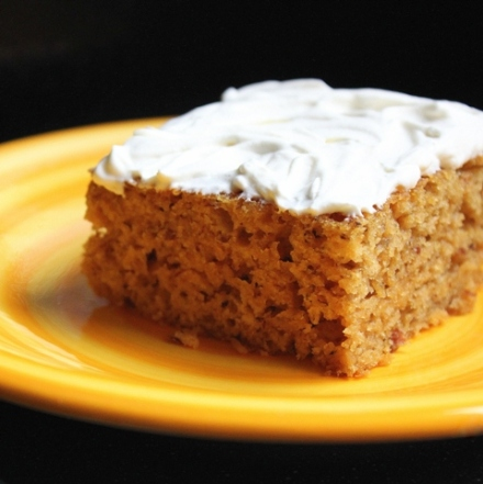 banana molasses cake with sweet creme fraiche