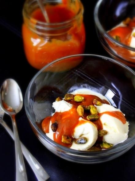 homemade cardamom cajeta with vanilla ice cream and pistachios 2